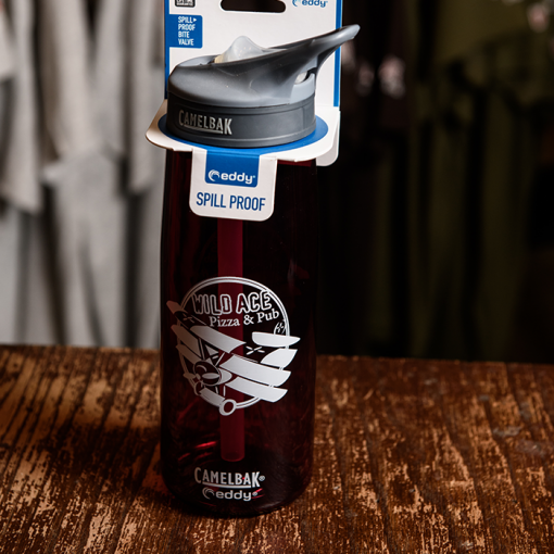 Crimson colored Wild Ace Camelbak bottle.
