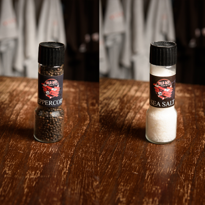 Wild Ace salt and pepper grinder set.